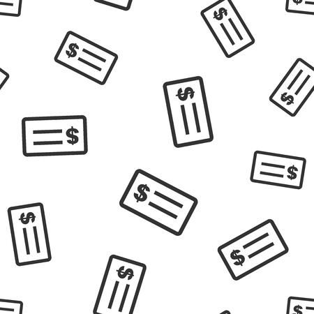 Check money seamless pattern background icon. Flat vector illustration. Check dollar sign symbol pattern.
