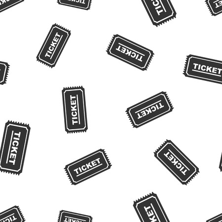 Ticket seamless pattern background icon. Business flat vector illustration. Ticket admit one sign symbol pattern.