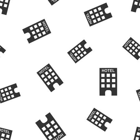 호텔 완벽 한 패턴 배경입니다. 비즈니스 평면 벡터 일러스트입니다. 호텔 기호 상징 패턴입니다.