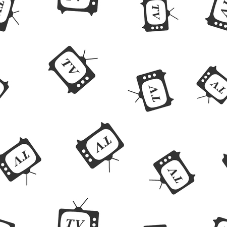 Tv icon seamless pattern background. Business flat vector illustration. Television sign symbol pattern.