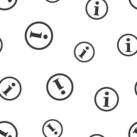 Information icon seamless pattern background. Business flat vector illustration. Speech sign symbol pattern.