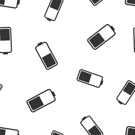 Battery icon seamless pattern background. Business flat vector illustration. Battery charge level sign symbol pattern.
