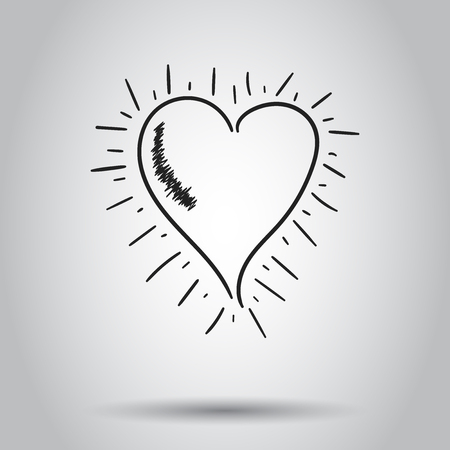 Hand drawn heart icon. Vector illustration on isolated background. Business concept love heart pictogram. Ilustração