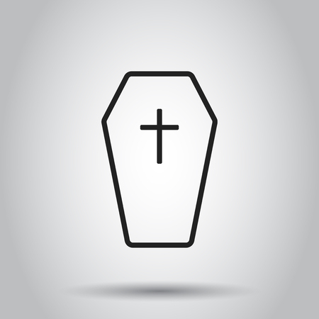 Halloween grave icon in line style. Vector illustration on isolated background. Business concept gravestone rip tombstone pictogram. Иллюстрация