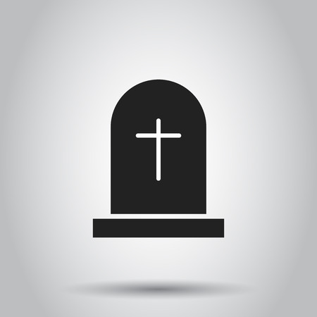 Halloween grave icon. Vector illustration on isolated background. Business concept gravestone rip tombstone pictogram.