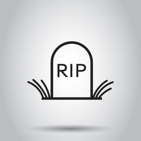 Halloween grave icon in line style. Vector illustration on isolated background. Business concept gravestone rip tombstone pictogram.