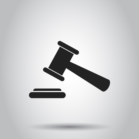 Auction hammer icon. Vector illustration on isolated background. Business concept court tribunal pictogram.