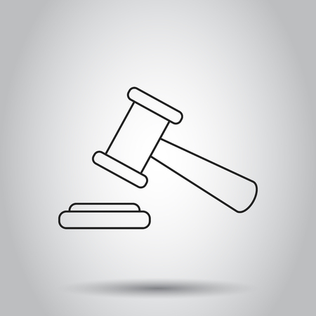 Auction hammer icon in line style. Vector illustration on isolated background. Business concept court tribunal pictogram. Ilustração