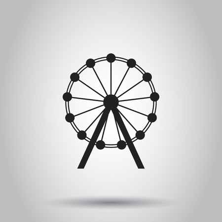 Ferris wheel carousel in park icon. Vector illustration on isolated background. Business concept amusement ride pictogram. Banco de Imagens - 95815775