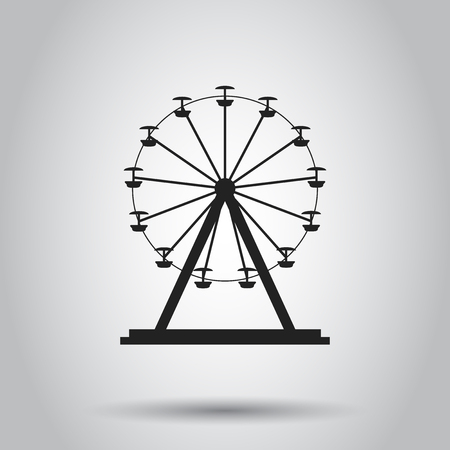 Ferris wheel carousel in park icon. Vector illustration on isolated background. Business concept amusement ride pictogram. Иллюстрация