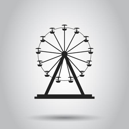 Ferris wheel carousel in park icon. Vector illustration on isolated background. Business concept amusement ride pictogram. Ilustração