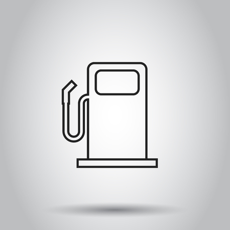 Fuel gas station icon in line style. Vector illustration on isolated background. Business concept car petrol pump pictogram.