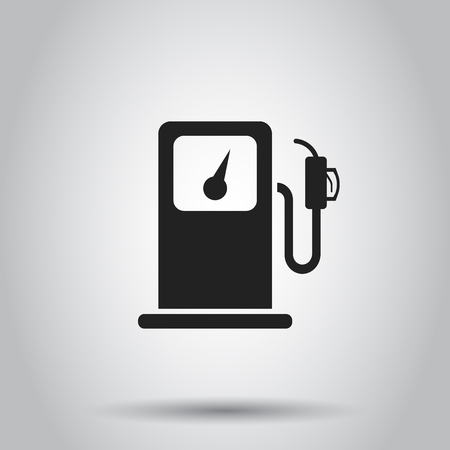 Fuel gas station icon. Vector illustration on isolated background. Business concept car petrol pump pictogram.