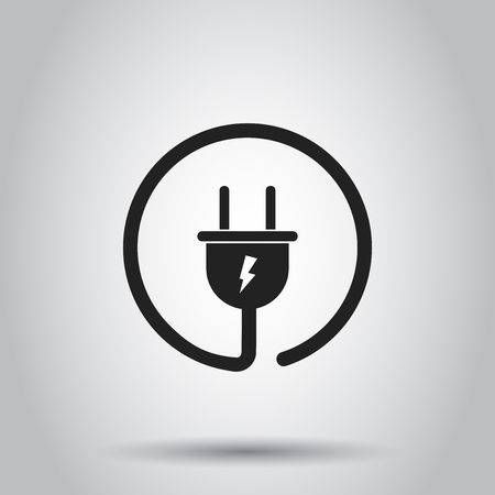 Plug socket icon. Vector illustration on isolated background. Business concept power wire cable pictogram.