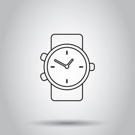 Clock watch icon in line style. Vector illustration on isolated background. Business concept clock  pictogram.