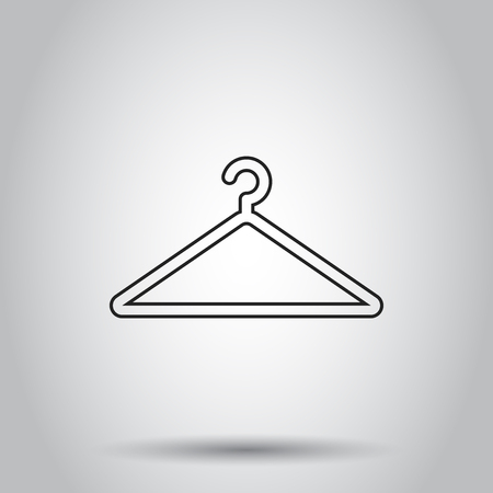 Hanger icon in line style. Vector illustration on isolated background. Business concept wardrobe pictogram.