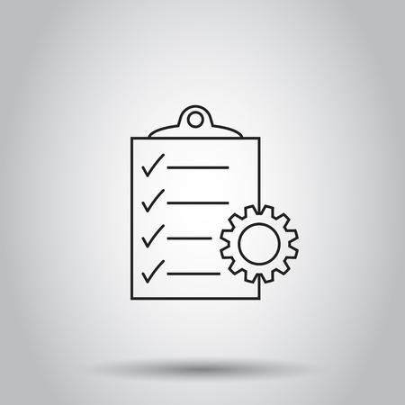 Document icoon. Vector illustratie op geïsoleerde achtergrond. Bedrijfsconcept project management pictogram. Stock Illustratie