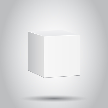 Blank white carton 3d box icon. Vector illustration on isolated background. Business concept box package mockup pictogram.