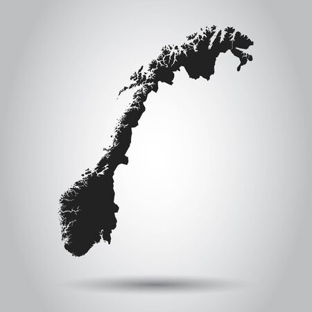 Norway vector map. Black icon on white background.