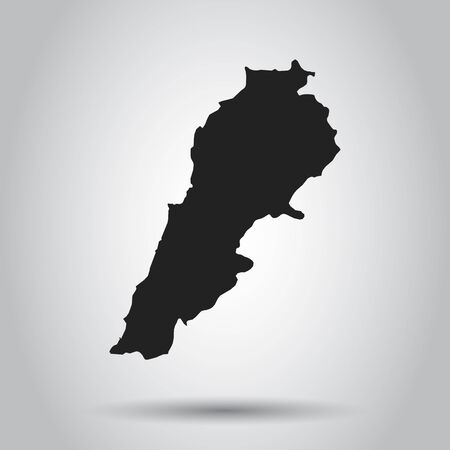 Lebanon vector map. Black icon on white background. Vectores