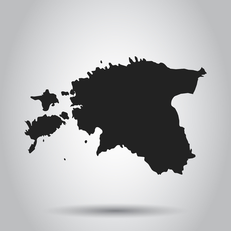 Estonia vector map. Black icon on white background. Illustration