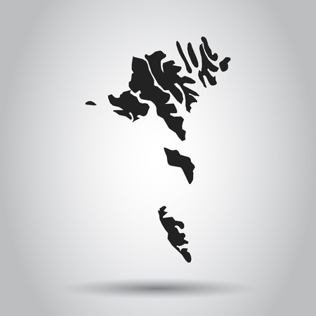 Faroe Islands vector map. Black icon on white background.