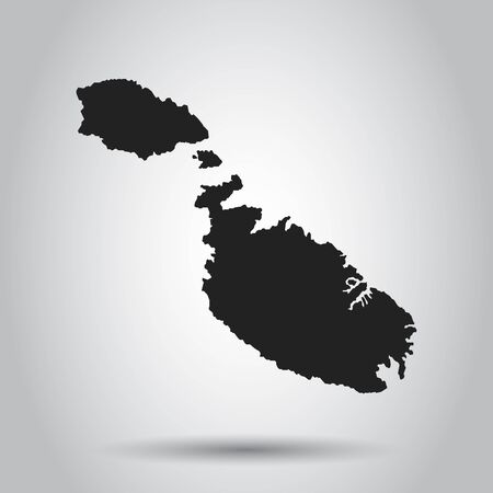 Malta vector map. Black icon on white background.