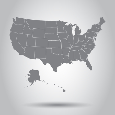 USA map icon. Business cartography concept United States of America pictogram. Vector illustration on white background. Stock Illustratie