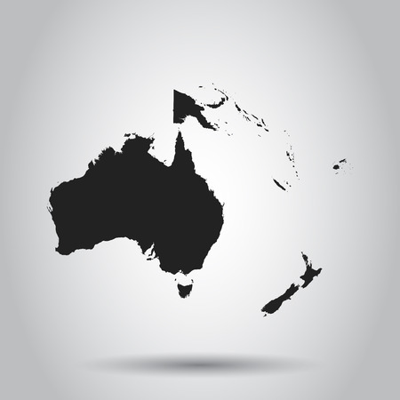 Australia and oceania map icon. Flat vector illustration. Australia sign symbol with shadow on white background.