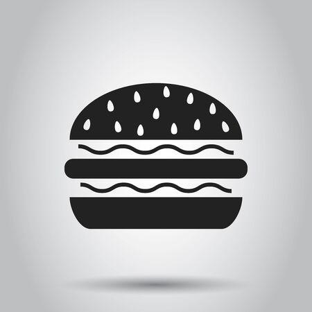 Burger fast food flat vector icon.