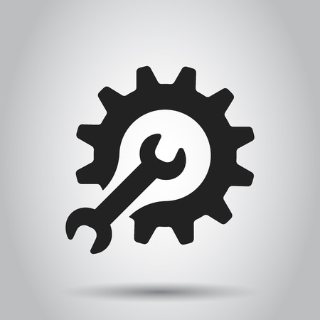 Service tools flat vector icon. Cogwheel with wrench symbol illustration. Illustration
