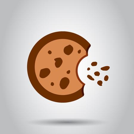 Cookie flat vector icon. Chip biscuit illustration. Ilustração
