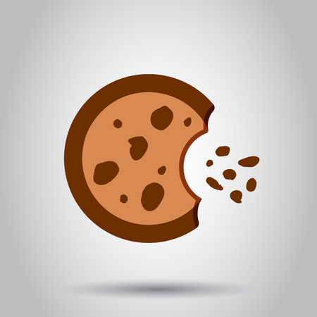 Cookie flat vector icon. Chip biscuit illustration. Illustration