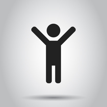 Happy man with hands up vector icon. People happy sign illustration.