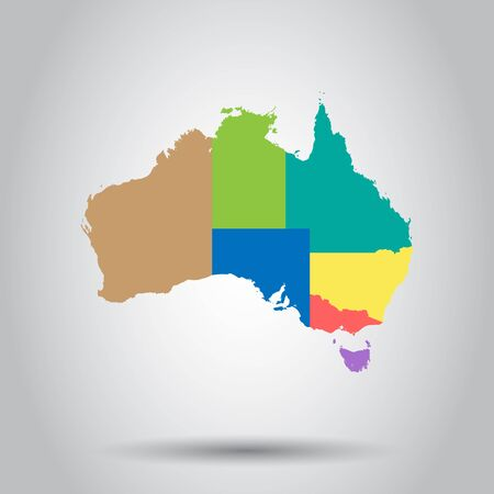 Australia color map with regions icon. Business cartography concept Australia pictogram.