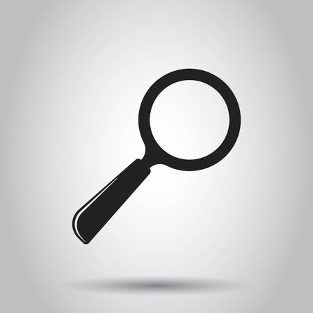 Loupe icon vector. Magnifier in flat style. Search sign concept.