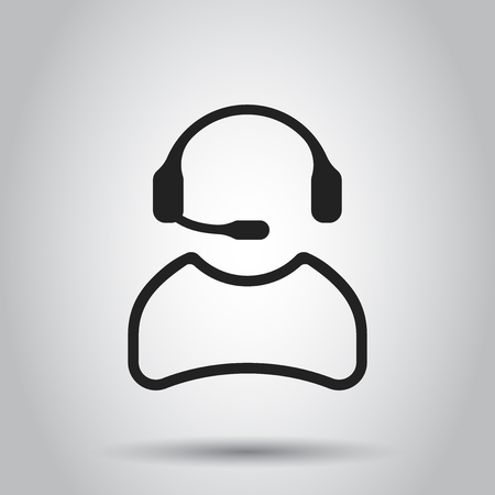 Operator with microphone vector icon. Operator in call center illustration. Illustration