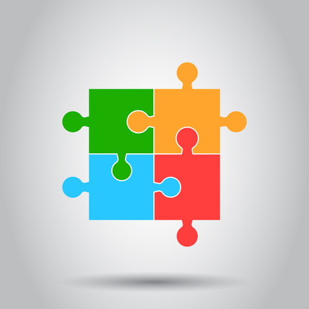 Colorful jigsaw puzzle vector. Flat illustration. Puzzle game. Simple business concept pictogram. Illustration