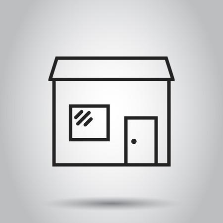 Icono de vector de casa de tienda. Tienda de construir ilustración. Concepto de negocio simple pictograma plano sobre fondo aislado. Foto de archivo - 96826236