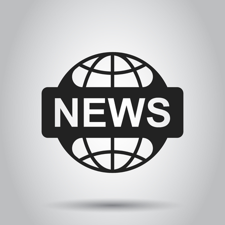 World news flat vector icon. News symbol illustration. Business concept simple flat pictogram on isolated background.