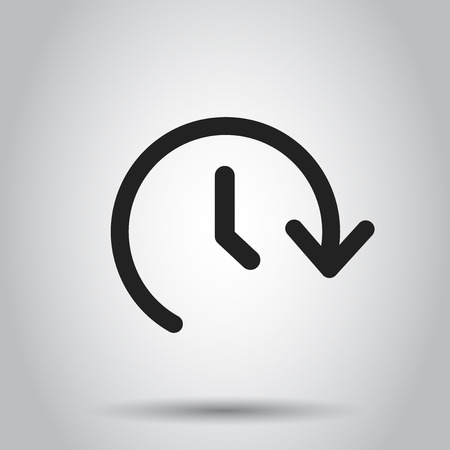 Clock time vector icon. Timer 24 hours sign illustration. Business concept simple flat pictogram on isolated background. Illustration
