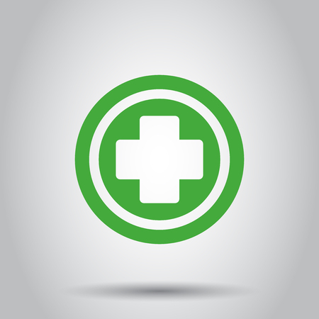 Medical health vector icon. Medicine hospital plus sign illustration. Business concept simple flat pictogram on isolated background.