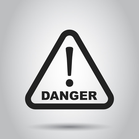 Danger sign vector icon. Attention caution illustration. Business concept simple flat pictogram.