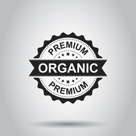 Timbro di gomma premium grunge organico. Illustrazione vettoriale su sfondo bianco. Pittogramma organico naturale del bollo di concetto di affari. Archivio Fotografico - 97278143