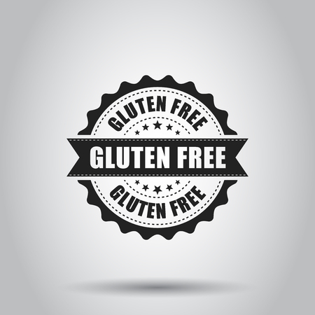 Glutenvrije grunge rubberzegel. Vector illustratie op een witte achtergrond. Bedrijfsconcept geen pictogram van de gluten gezonde zegel.