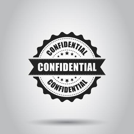 Confidential grunge rubber stamp. Vector illustration on white background. Business concept confidential secret stamp pictogram.