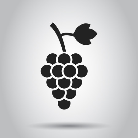 Grape fruit with leaf icon. Vector illustration on white background. Business concept Bunch of wine grapevine pictogram.