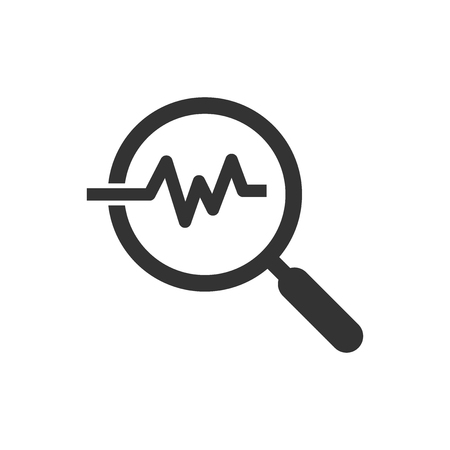 Magnifying glass icon with pulse. Vector illustration. Business concept loupe analysis pictogram. Illusztráció