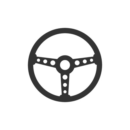 Steering wheel icon. Vector illustration. Business concept car wheel pictogram.