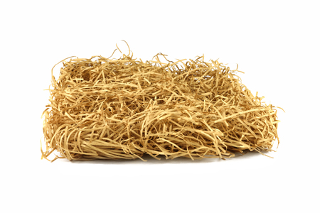 Dry yellow hay stack. Haystack grass on white isolated background. Standard-Bild